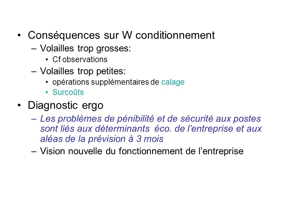 Conséquences sur W conditionnement