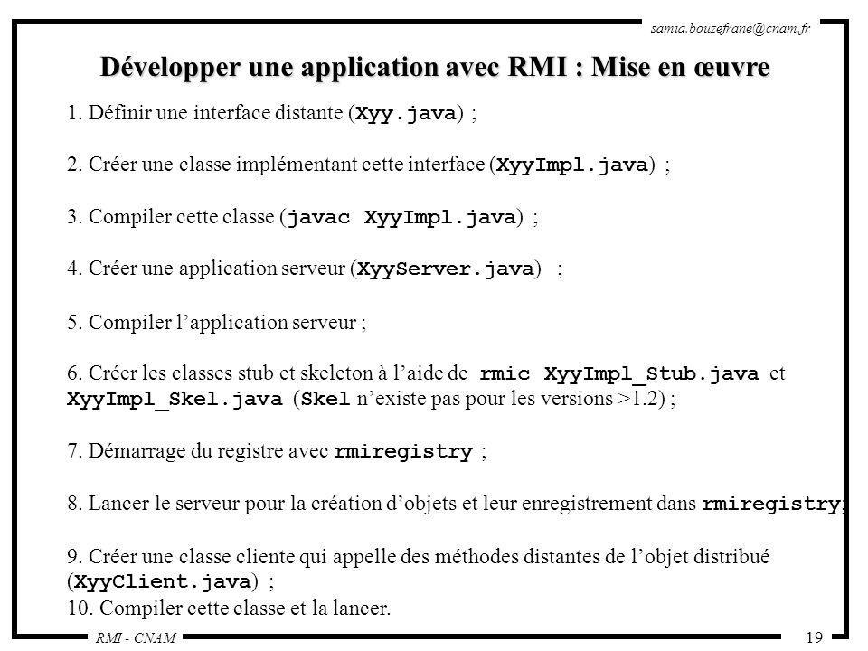 Développer une application avec RMI : Mise en œuvre