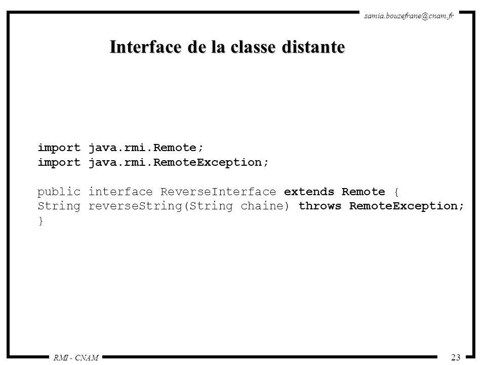 Interface de la classe distante