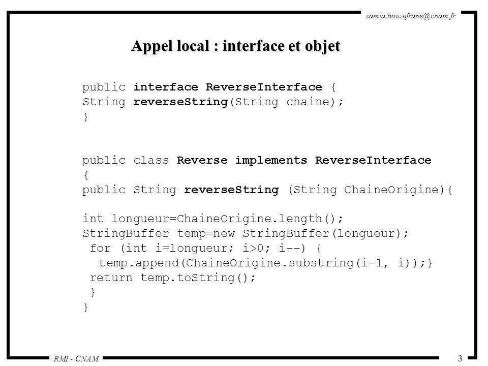 Appel local : interface et objet