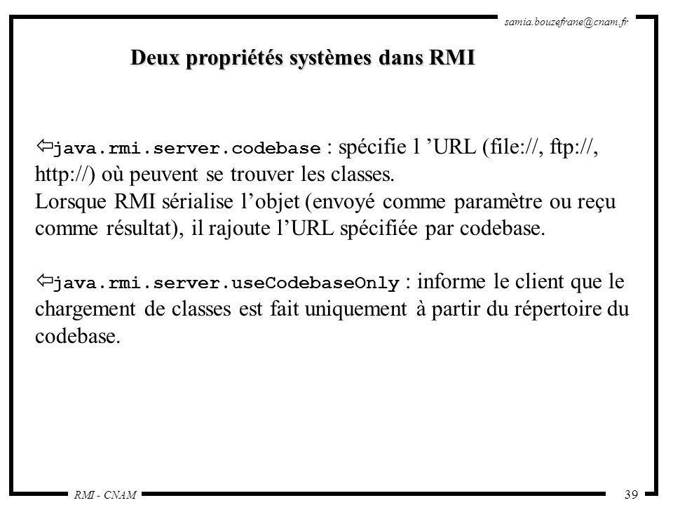Deux propriétés systèmes dans RMI