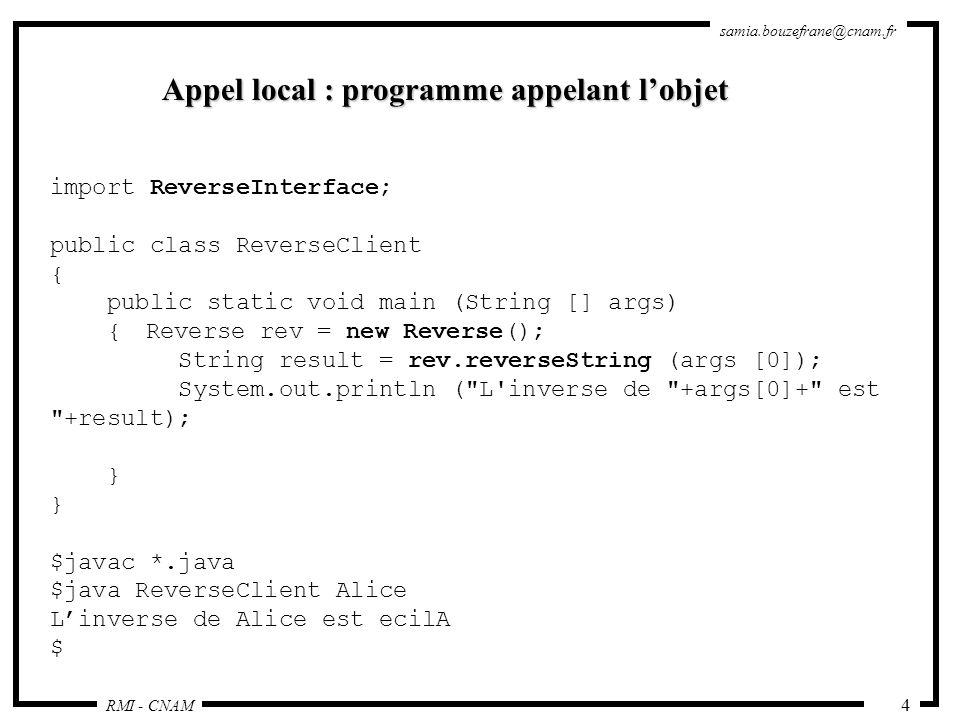 Appel local : programme appelant l'objet