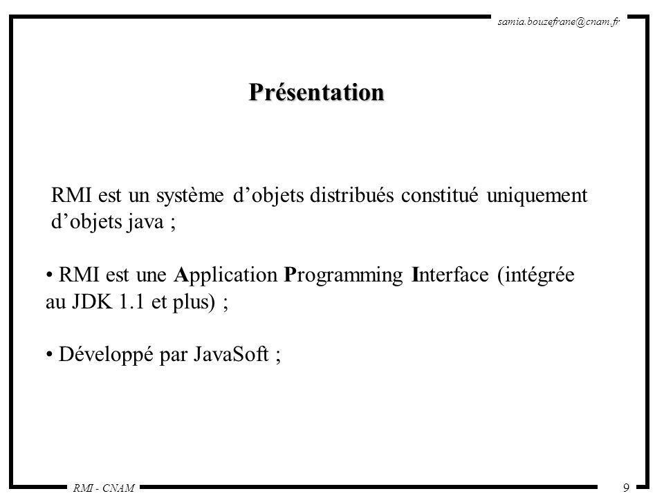 Présentation RMI est un système d'objets distribués constitué uniquement. d'objets java ; RMI est une Application Programming Interface (intégrée.