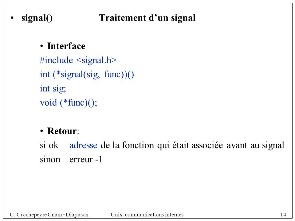 signal() Traitement d'un signal
