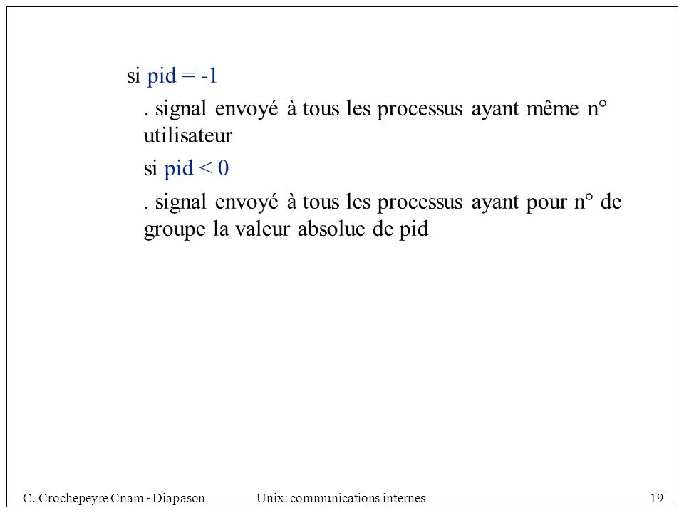si pid = -1 . signal envoyé à tous les processus ayant même n° utilisateur. si pid < 0.