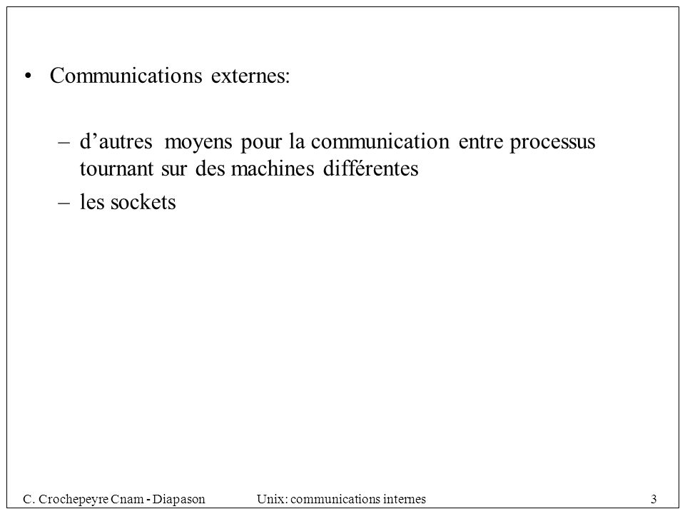 Communications externes: