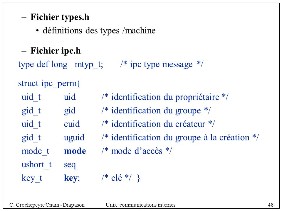 Fichier types.h définitions des types /machine. Fichier ipc.h. type def long mtyp_t; /* ipc type message */