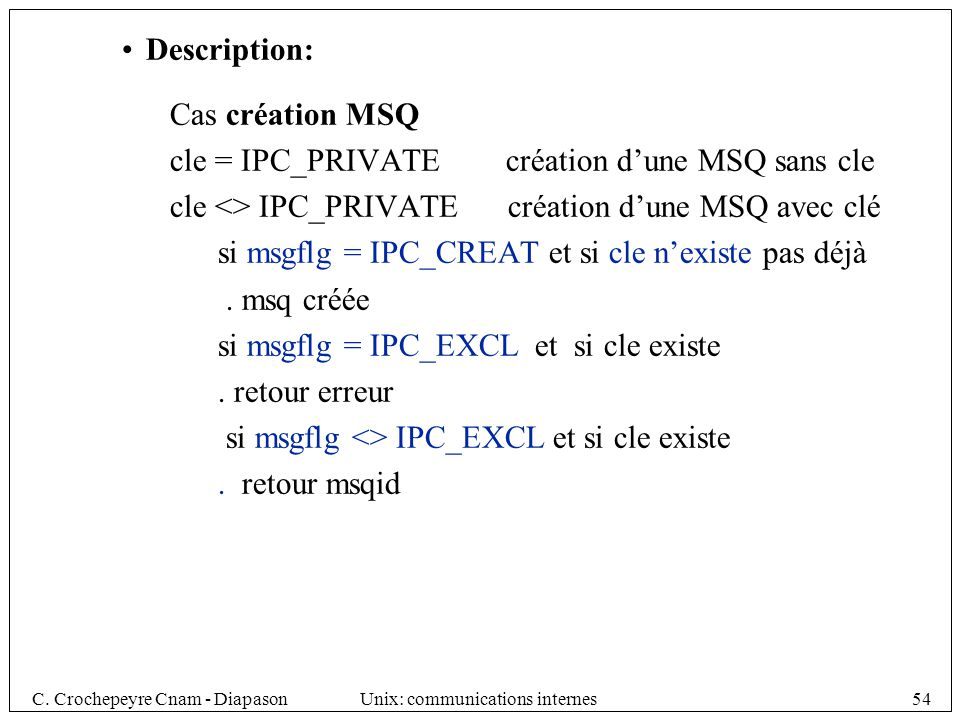 Description: Cas création MSQ. cle = IPC_PRIVATE création d'une MSQ sans cle. cle <> IPC_PRIVATE création d'une MSQ avec clé.