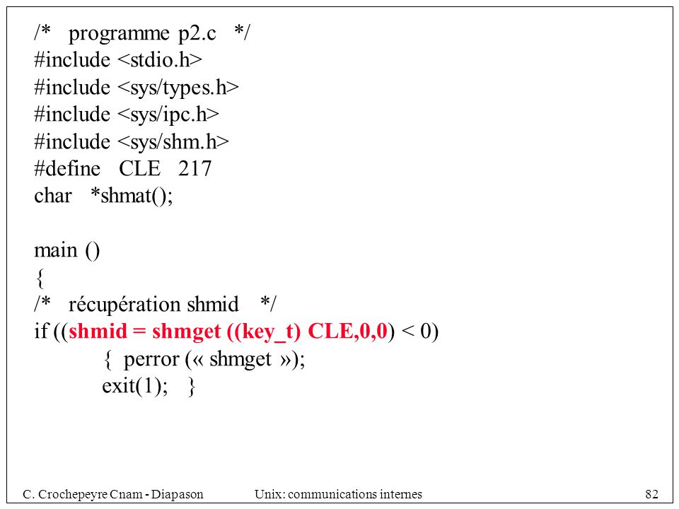 /* programme p2.c */ #include <stdio.h> #include <sys/types.h> #include <sys/ipc.h> #include <sys/shm.h>