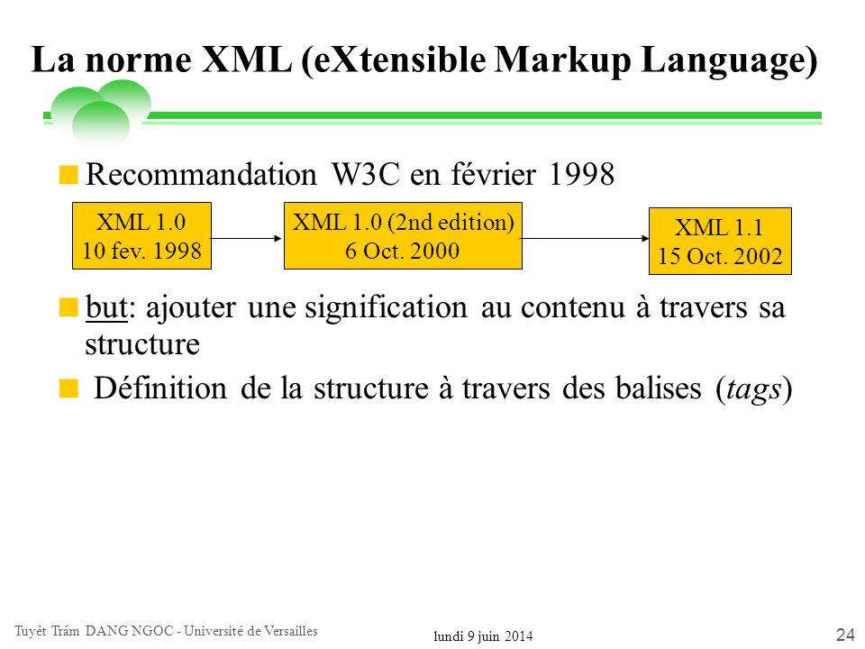 La norme XML (eXtensible Markup Language)