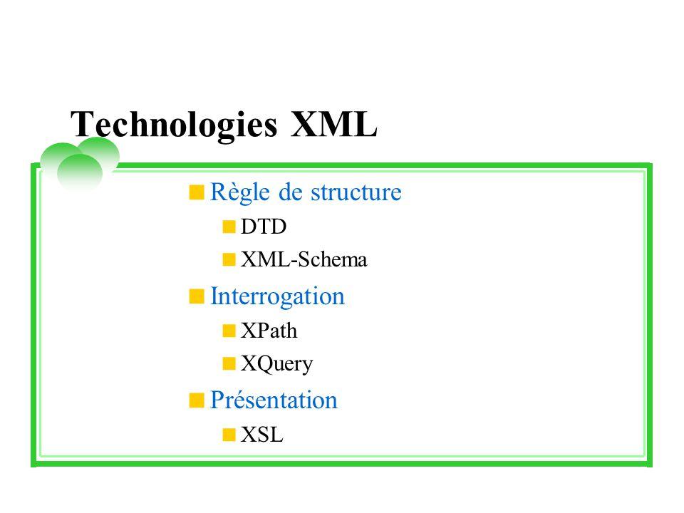 Technologies XML Règle de structure Interrogation Présentation DTD