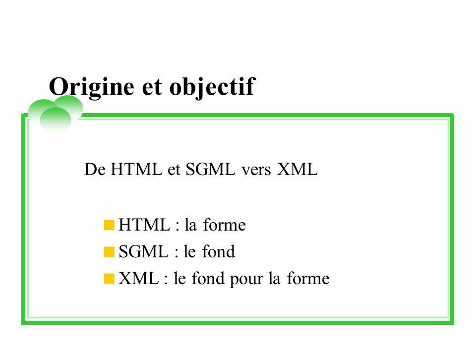 Origine et objectif De HTML et SGML vers XML HTML : la forme