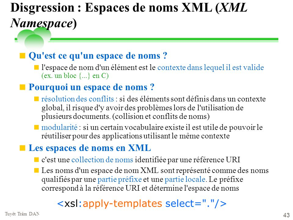 Disgression : Espaces de noms XML (XML Namespace)