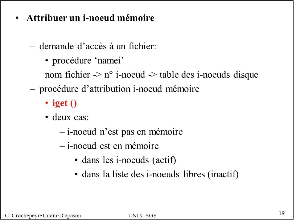 Attribuer un i-noeud mémoire