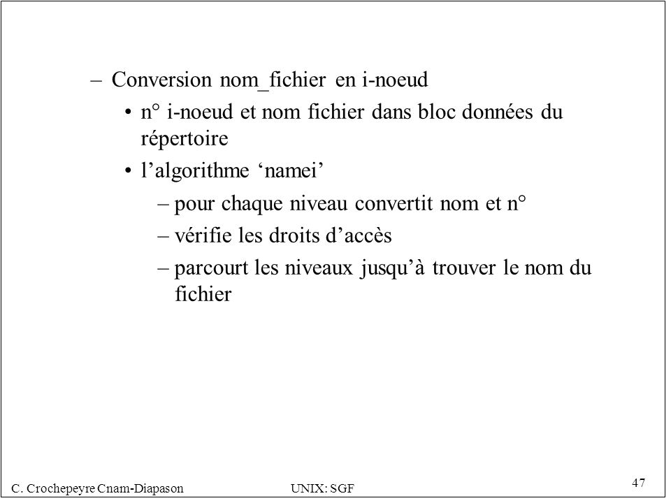 Conversion nom_fichier en i-noeud