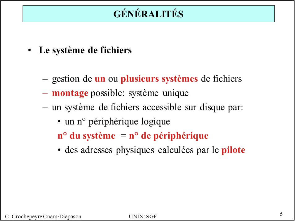 GÉNÉRALITÉS Le système de fichiers. gestion de un ou plusieurs systèmes de fichiers. montage possible: système unique.