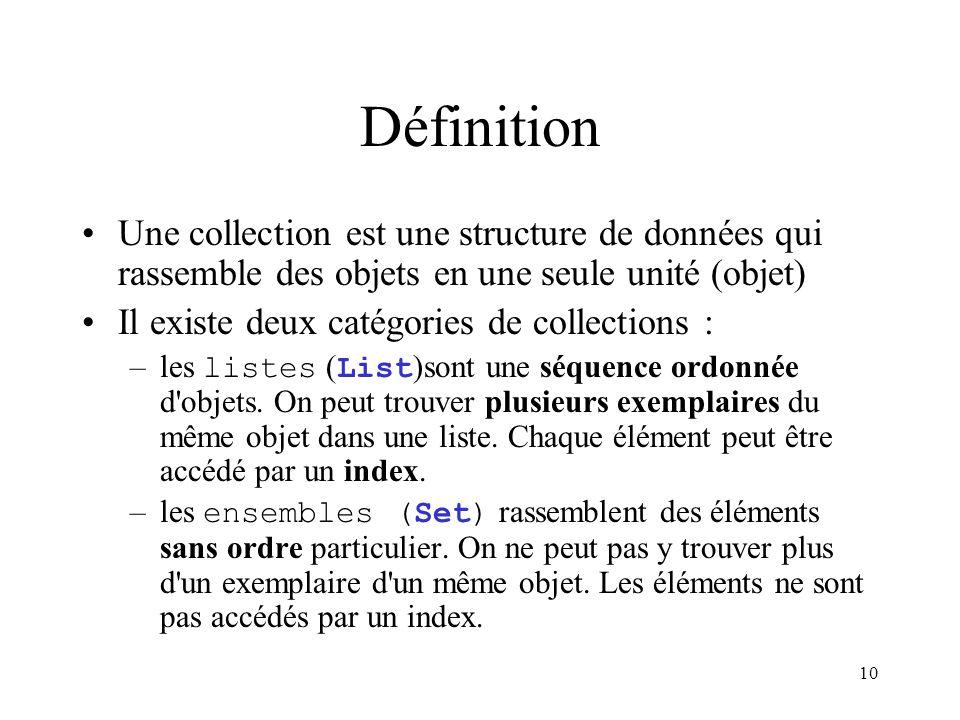 Définition Une collection est une structure de données qui rassemble des objets en une seule unité (objet)