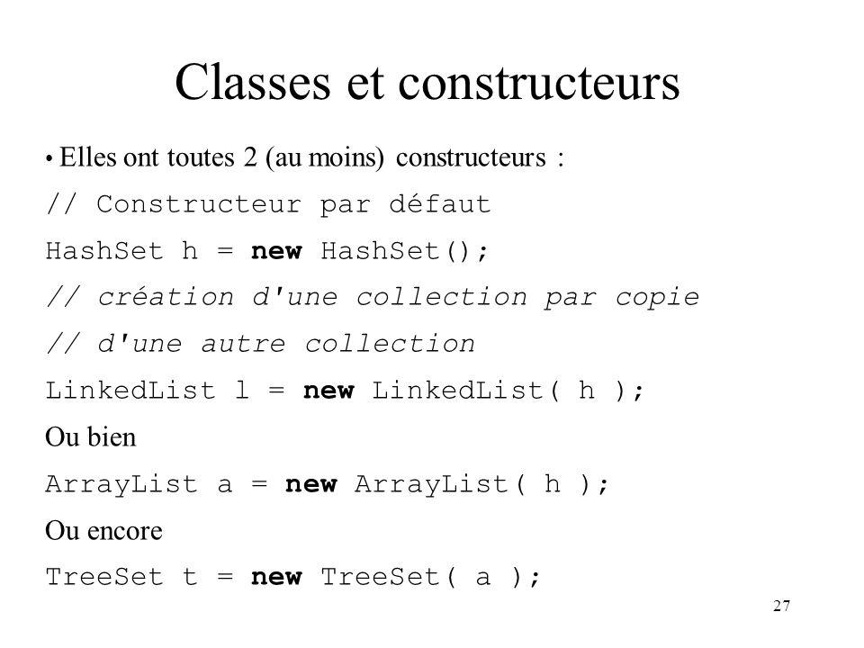 Classes et constructeurs