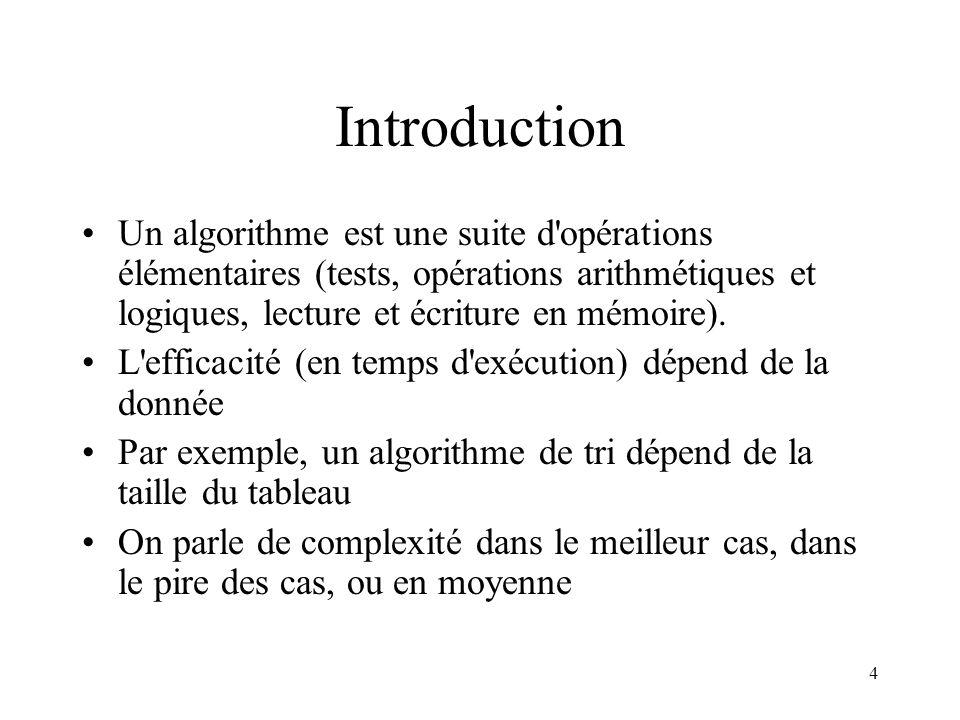Introduction Un algorithme est une suite d opérations élémentaires (tests, opérations arithmétiques et logiques, lecture et écriture en mémoire).