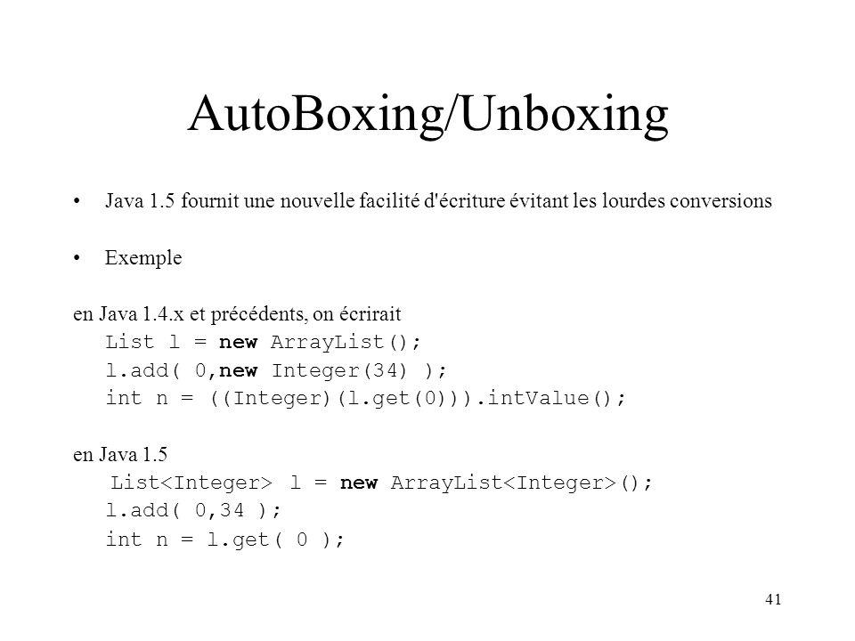 AutoBoxing/Unboxing Java 1.5 fournit une nouvelle facilité d écriture évitant les lourdes conversions.