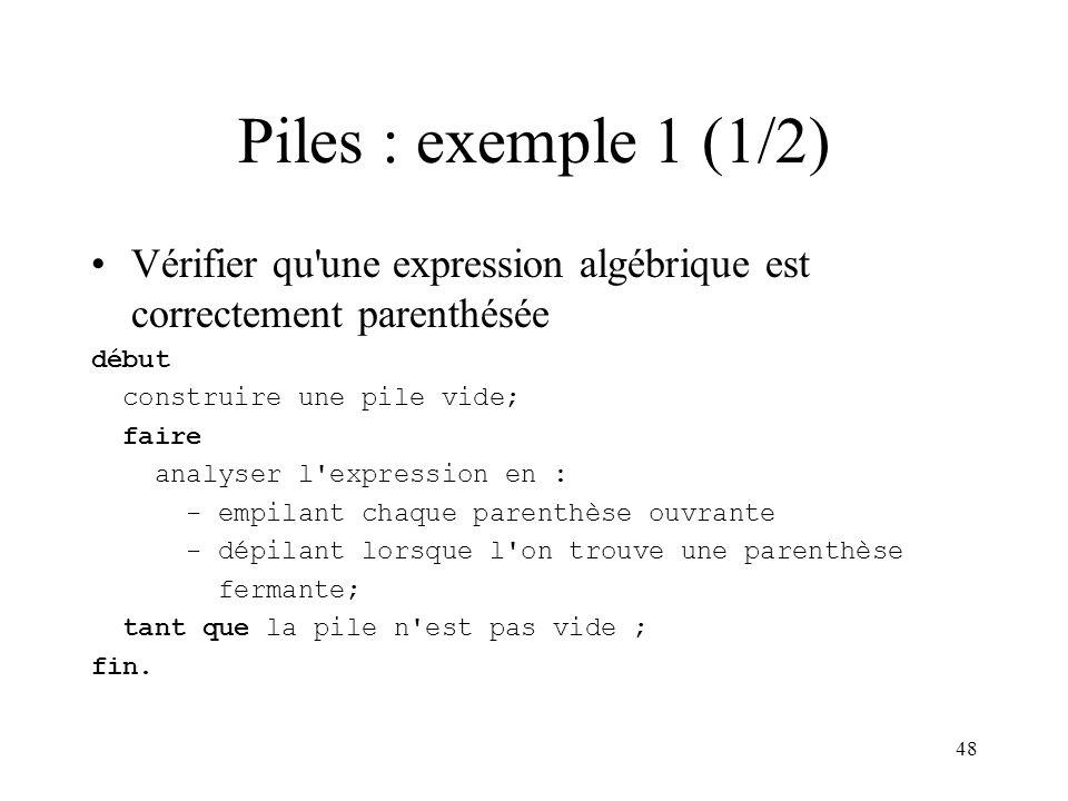 Piles : exemple 1 (1/2) Vérifier qu une expression algébrique est correctement parenthésée. début.