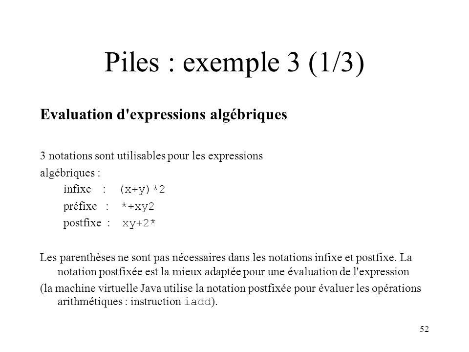 Piles : exemple 3 (1/3) Evaluation d expressions algébriques