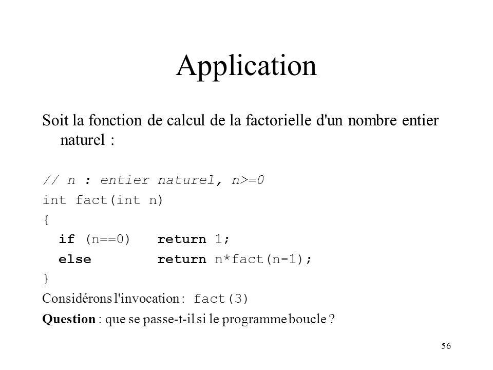 Application Soit la fonction de calcul de la factorielle d un nombre entier naturel : // n : entier naturel, n>=0.