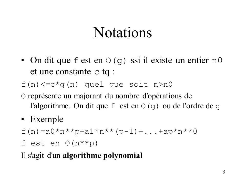 Notations On dit que f est en O(g) ssi il existe un entier n0 et une constante c tq : f(n)<=c*g(n) quel que soit n>n0.