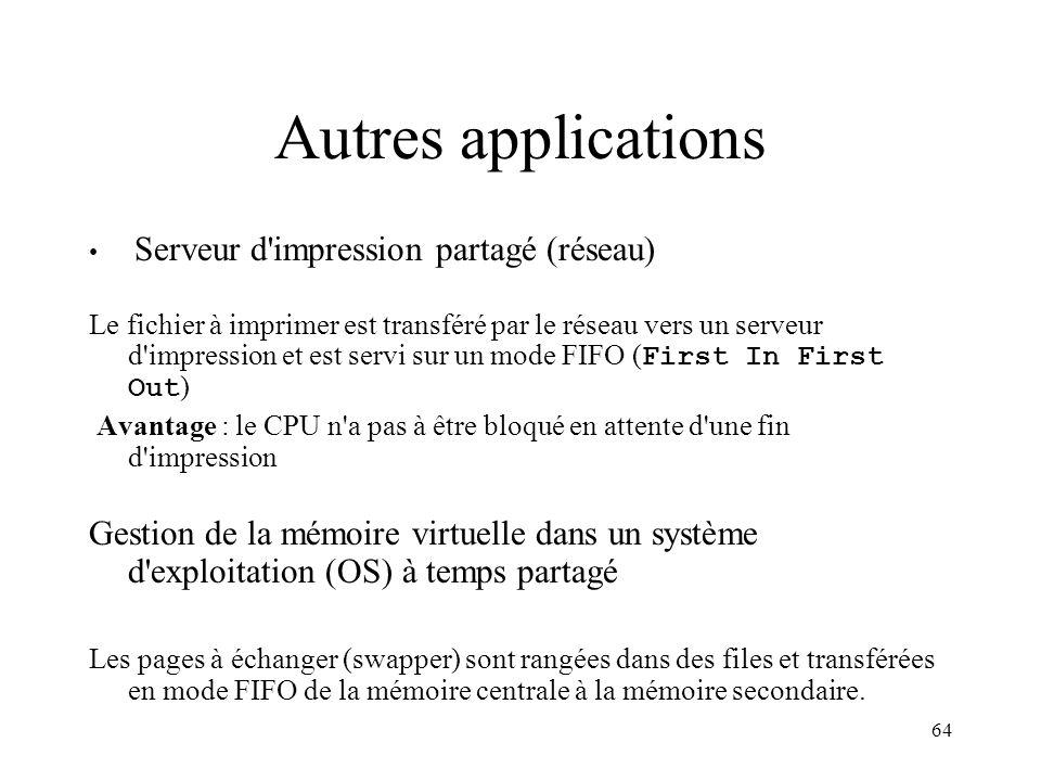 Autres applications Serveur d impression partagé (réseau)
