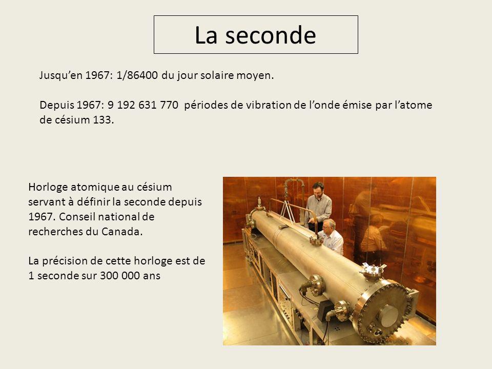 La seconde Jusqu'en 1967: 1/86400 du jour solaire moyen.