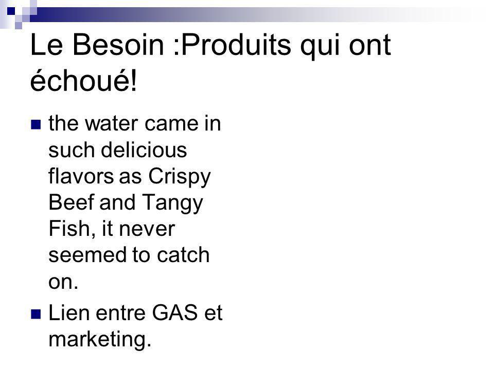 Le Besoin :Produits qui ont échoué!