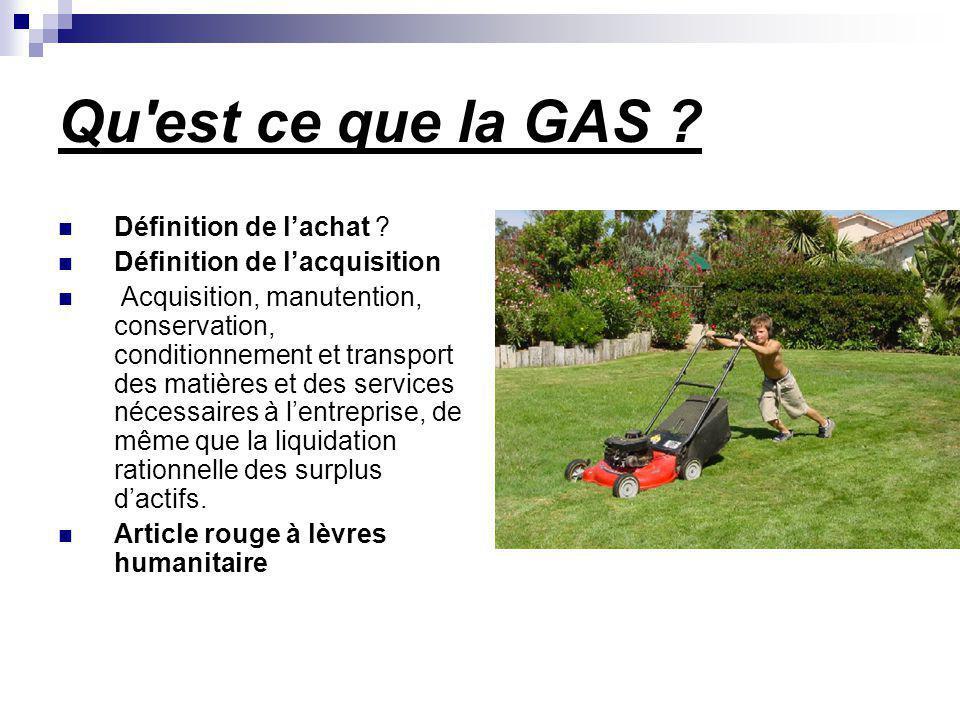 Qu est ce que la GAS Définition de l'achat