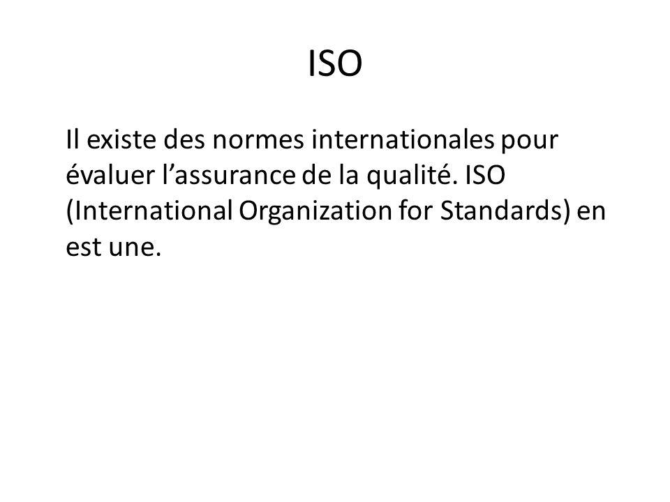 ISO Il existe des normes internationales pour évaluer l'assurance de la qualité.