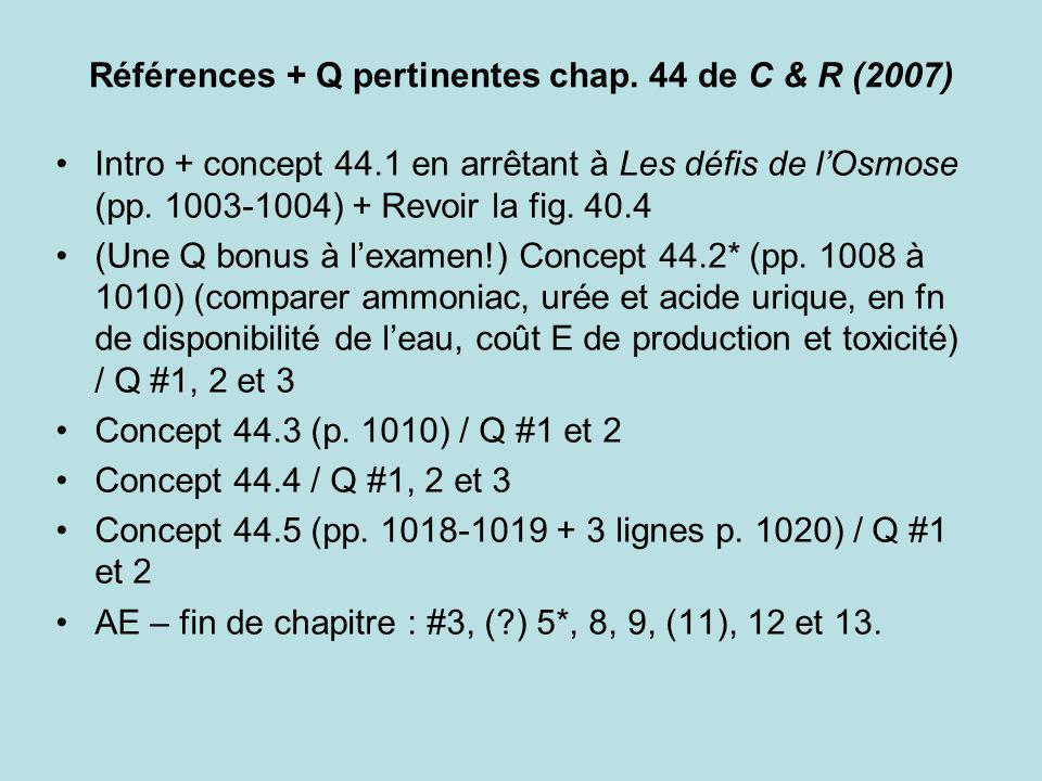 Références + Q pertinentes chap. 44 de C & R (2007)