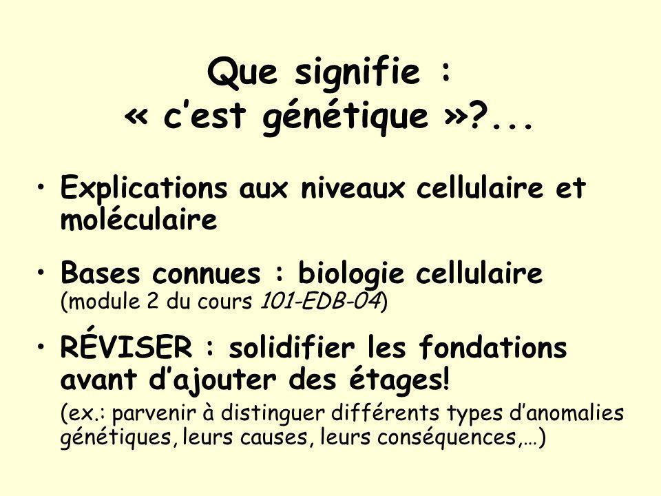 Que signifie : « c'est génétique » ...