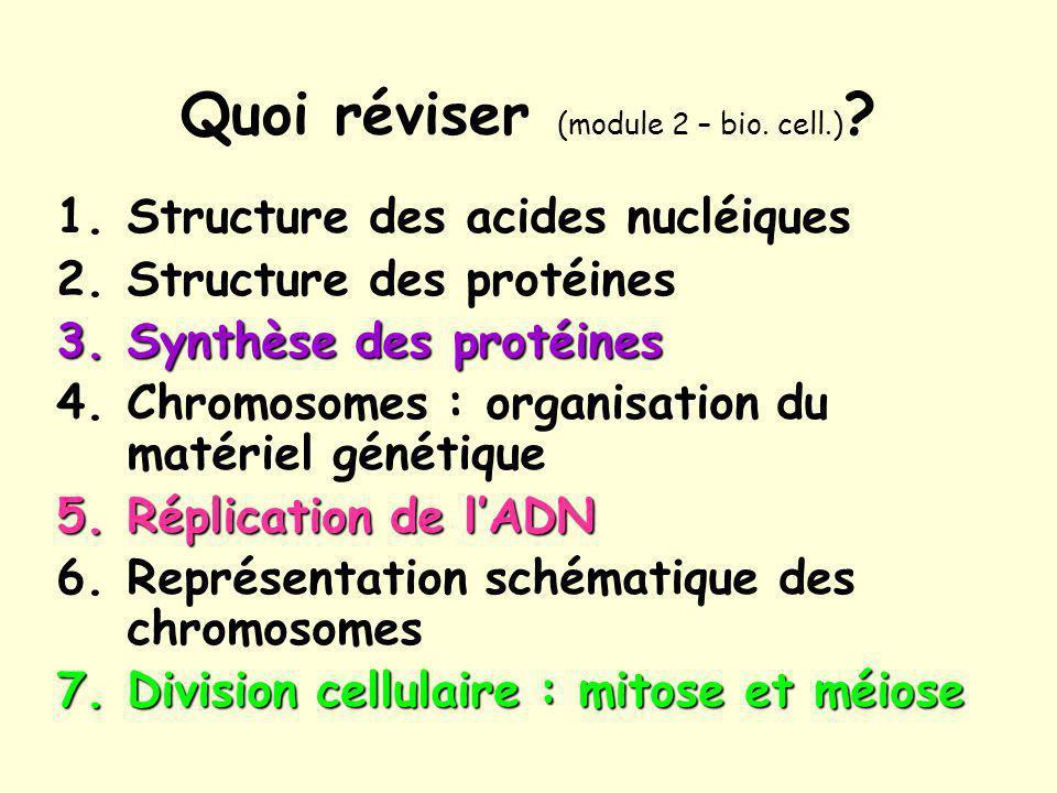 Quoi réviser (module 2 – bio. cell.)