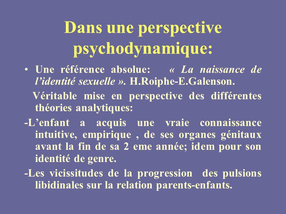 Dans une perspective psychodynamique: