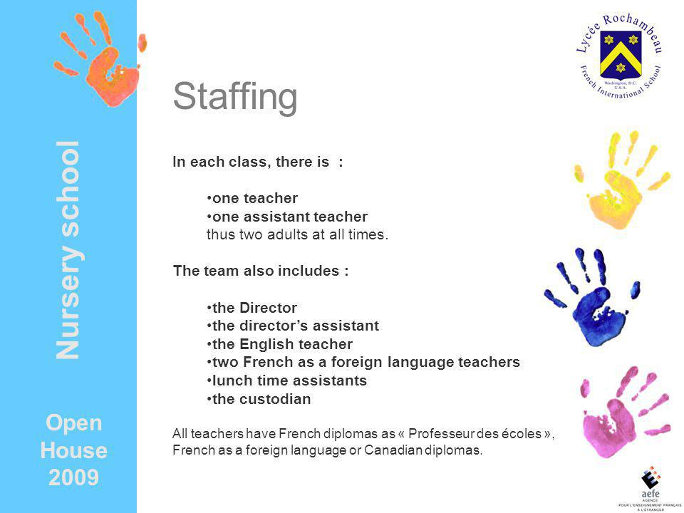 Staffing Nursery school Open House 2009 In each class, there is :