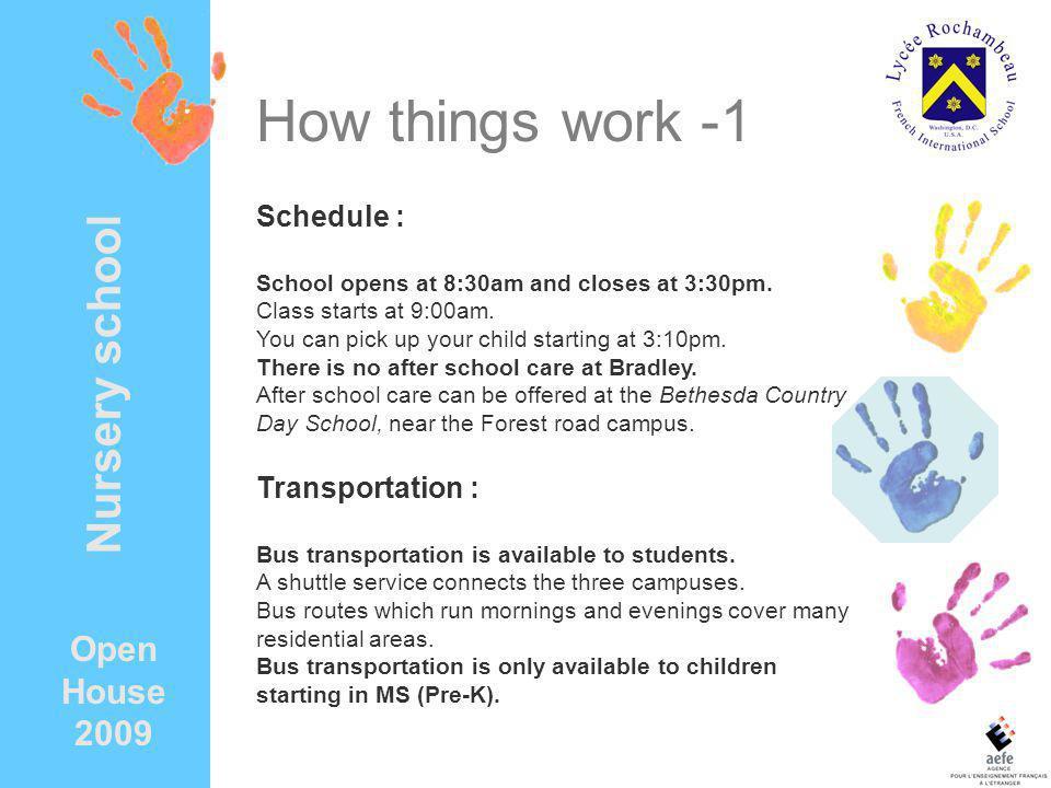 How things work -1 Nursery school Open House 2009 Schedule :