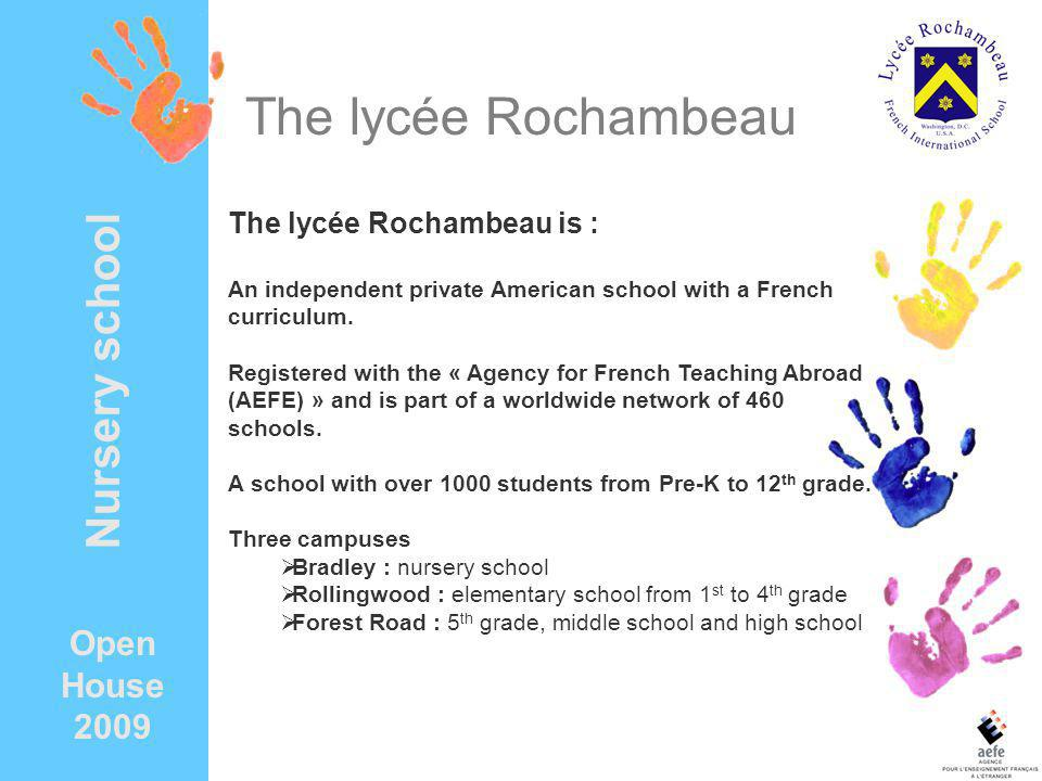 The lycée Rochambeau Nursery school Open House 2009