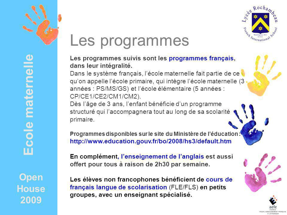 Les programmes Ecole maternelle Open House 2009