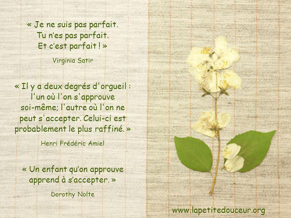« Je ne suis pas parfait. Tu n'es pas parfait. Et c'est parfait ! »