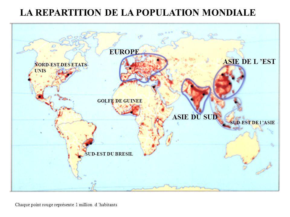 LA REPARTITION DE LA POPULATION MONDIALE