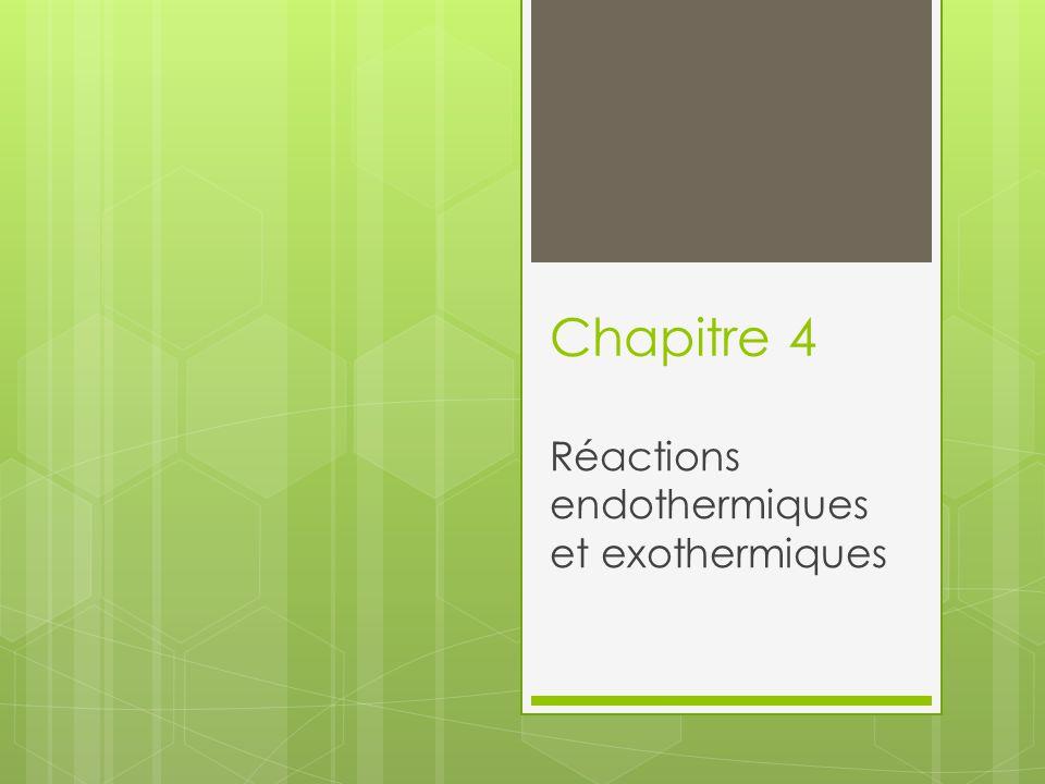 Réactions endothermiques et exothermiques