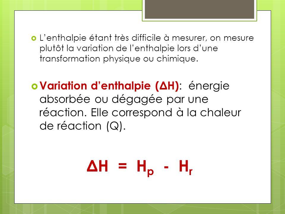 L'enthalpie étant très difficile à mesurer, on mesure plutôt la variation de l'enthalpie lors d'une transformation physique ou chimique.