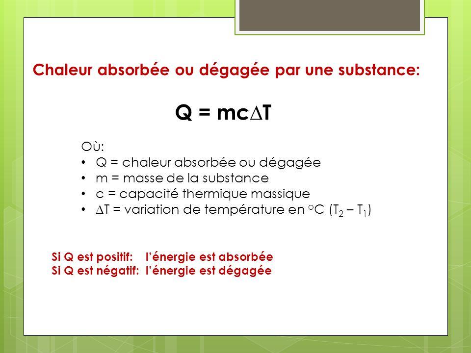 Q = mc∆T Chaleur absorbée ou dégagée par une substance: Où: