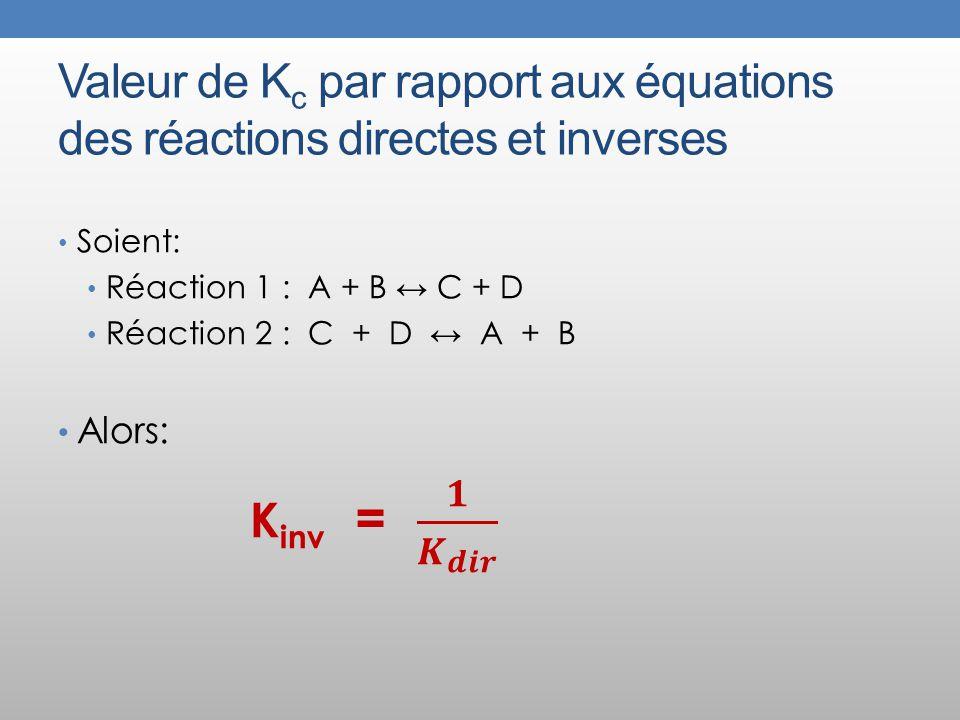 Valeur de Kc par rapport aux équations des réactions directes et inverses