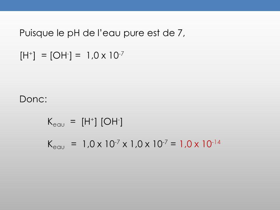 Puisque le pH de l'eau pure est de 7,