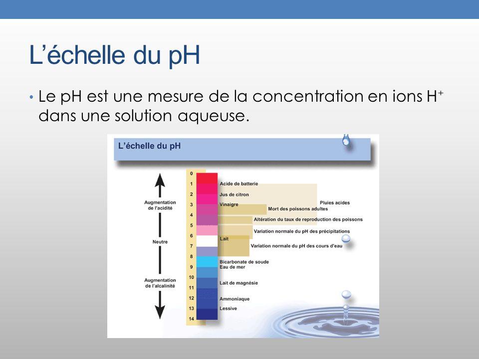 L'échelle du pH Le pH est une mesure de la concentration en ions H+ dans une solution aqueuse.