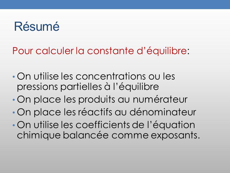 Résumé Pour calculer la constante d'équilibre: